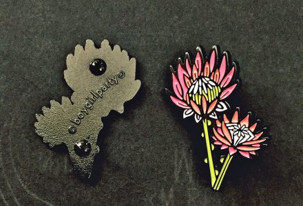 King protea enamel pin by boygirlparty native poppy