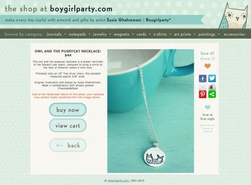 Screen shot of the boygirlparty shop