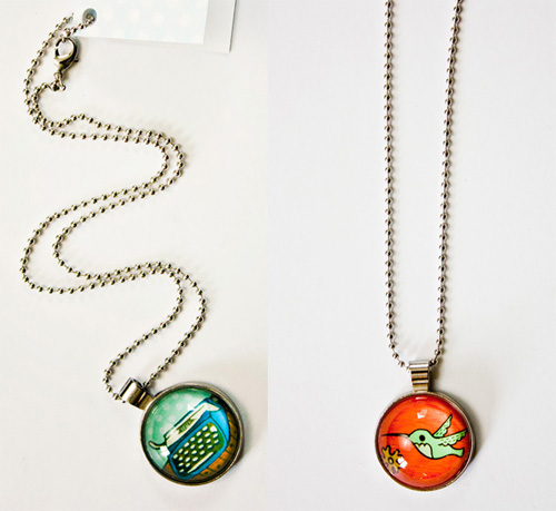 illustrated glass necklaces by susie ghahremani / boygirlparty.com