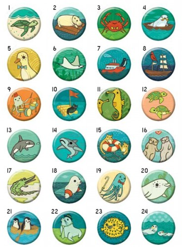 Ocean Friends buttons by Susie Ghahremani /  boygirlparty - Badge bomb buttons. #boygirlparty