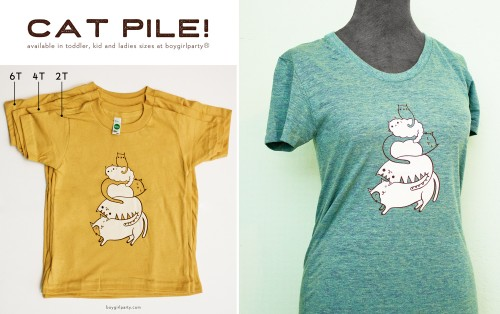 cat pile t-shirts by susie ghahremani / boygirlparty.com