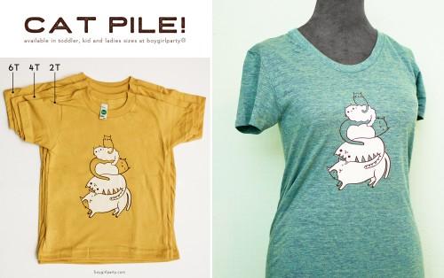 cat pile t-shirts by susie ghahremani / boygirlparty.com