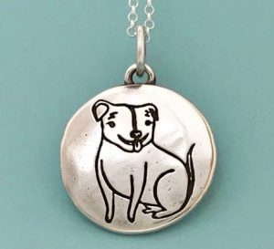 Pitbull necklace for charity by Susie Ghahremani and Elizabeth Scott
