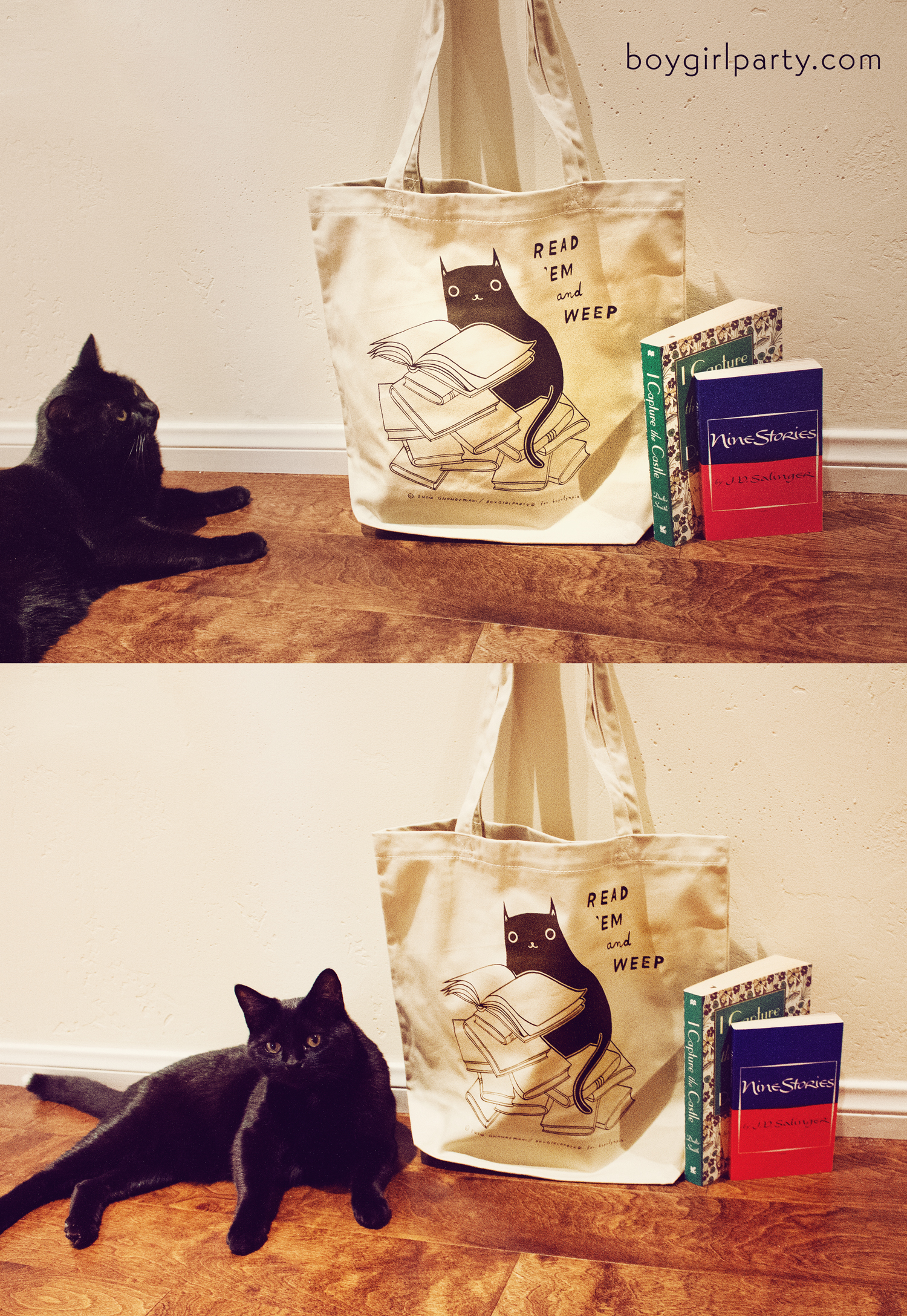 Cat and book tote bag by Susie Ghahremani / boygirlparty.com