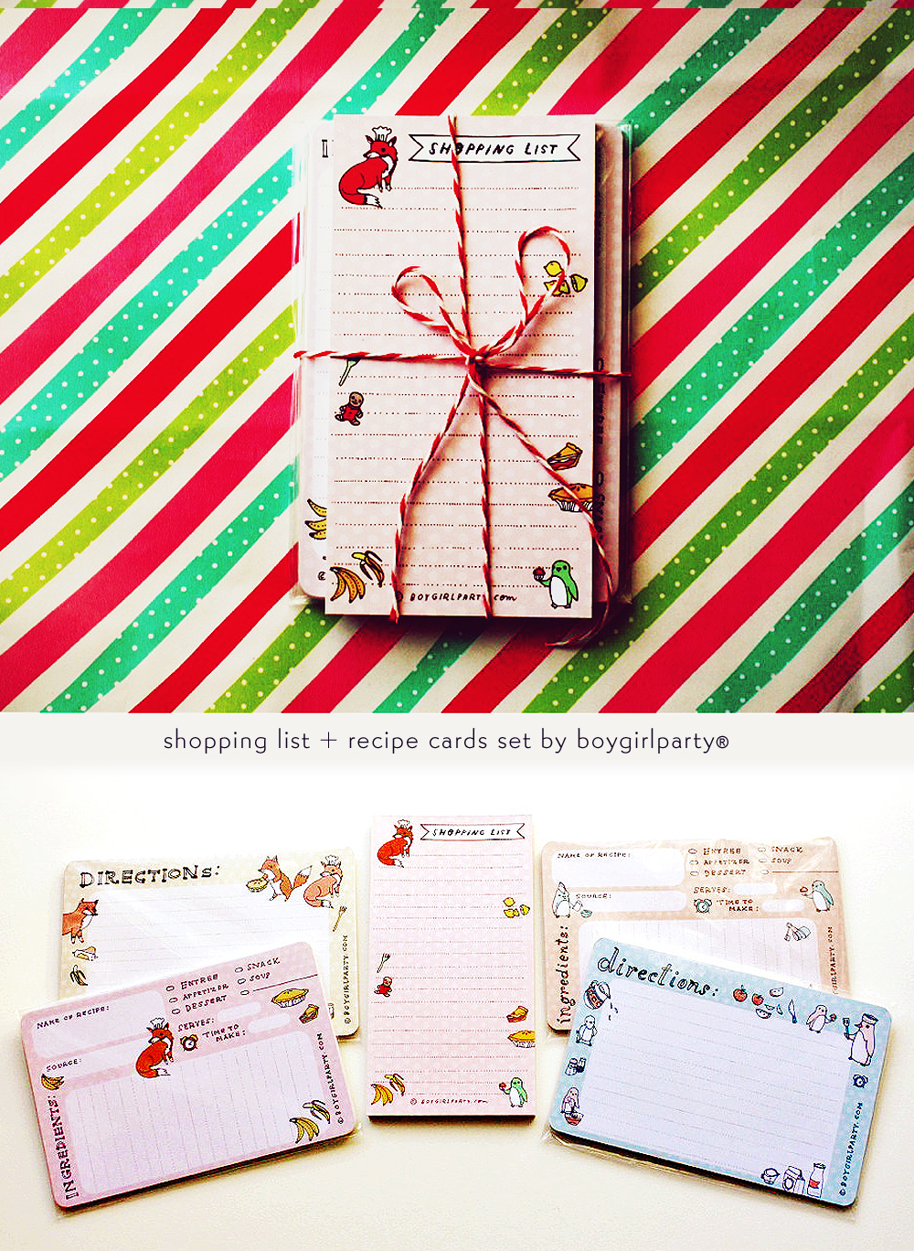 Recipe Cards and Shopping Lists at the boygirlparty shop