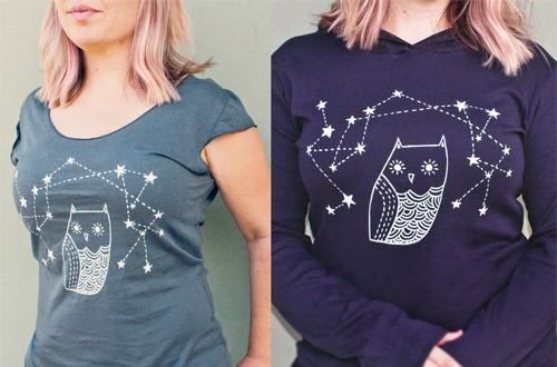 Owl Shirts by Boygirlparty / Susie Ghahremani : http://shop.boygirlparty.com/search?type=product&q=starry+owl+clothing