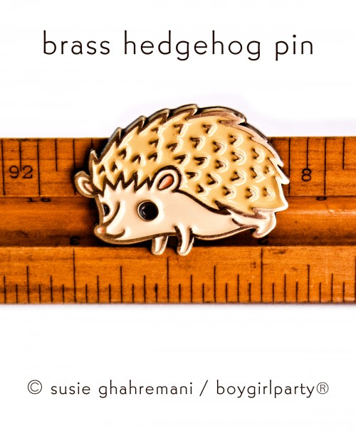 Brass Hedgehog Pin by Boygirlparty from http://shop.boygirlparty.com/collections/_new/products/limited-edition-brass-hedgehog-enamel-pin-by-boygirlparty