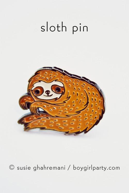 Sloth Enamel Pin from http://shop.boygirlparty.com