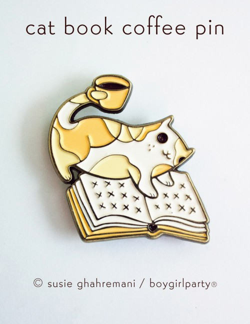 Cat Book Coffee Enamel Pin by Boygirlparty -- http://shop.boygirlparty.com