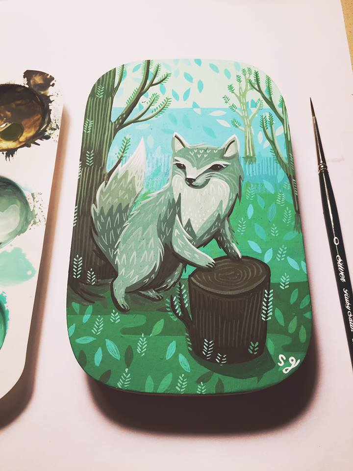 """Grey Wolf Painting by Susie Ghahremani for """"Log Cabin: paintings by Susie Ghahremani"""" at Rotofugi, Chicago, IL -- October 6-29, 2017"""