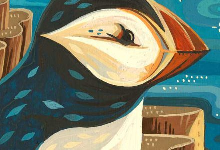 Susie Ghahremani puffin painting for Rotofugi art show opening October 6, 2017 Chicago IL