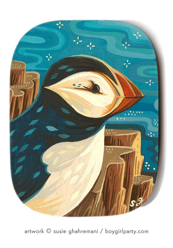 Puffin painting for Rotofugi art show - LOG CABIN paintings by Susie Ghahremani