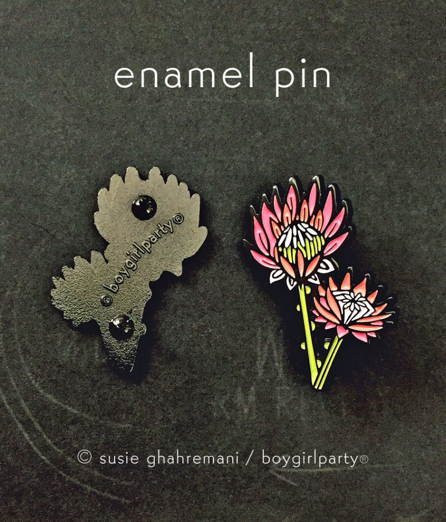 King protea enamel pin by boygirlparty native poppy