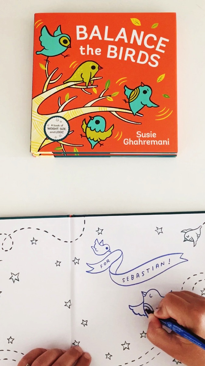 Signed copies of Balance the Birds by susie ghahremani