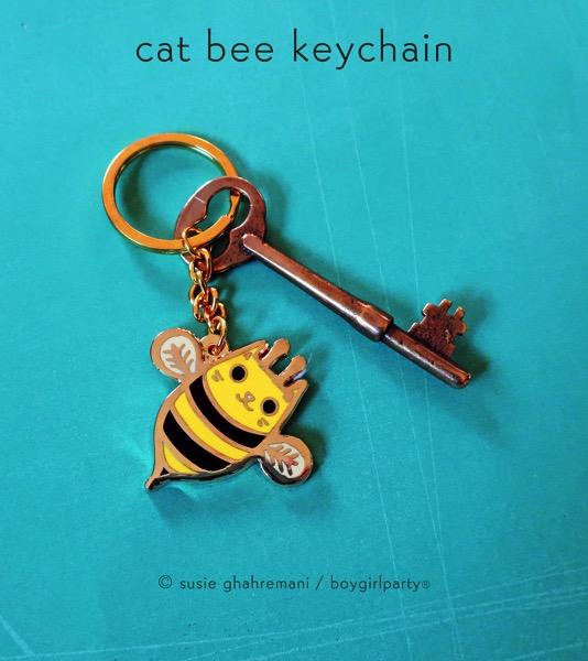 Cat bee keychain by boygirlparty