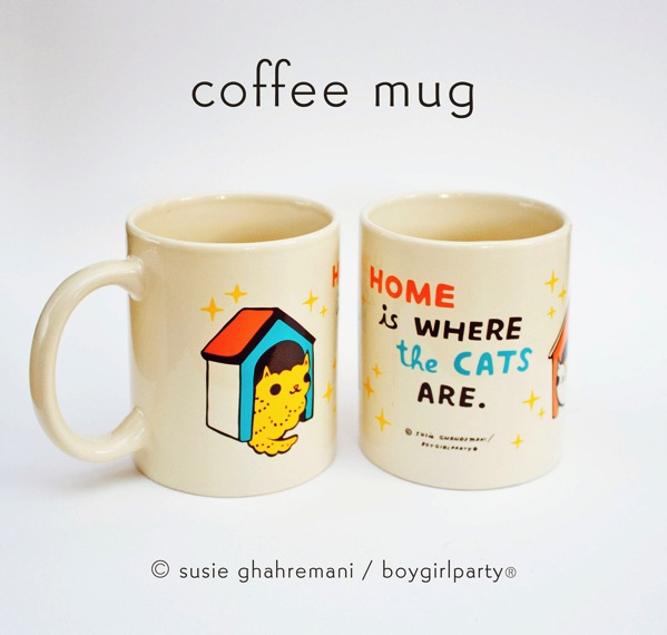Home is where the cats are mug by boygirlparty / Susie Ghahremani made in collaboration with BuyOlympia