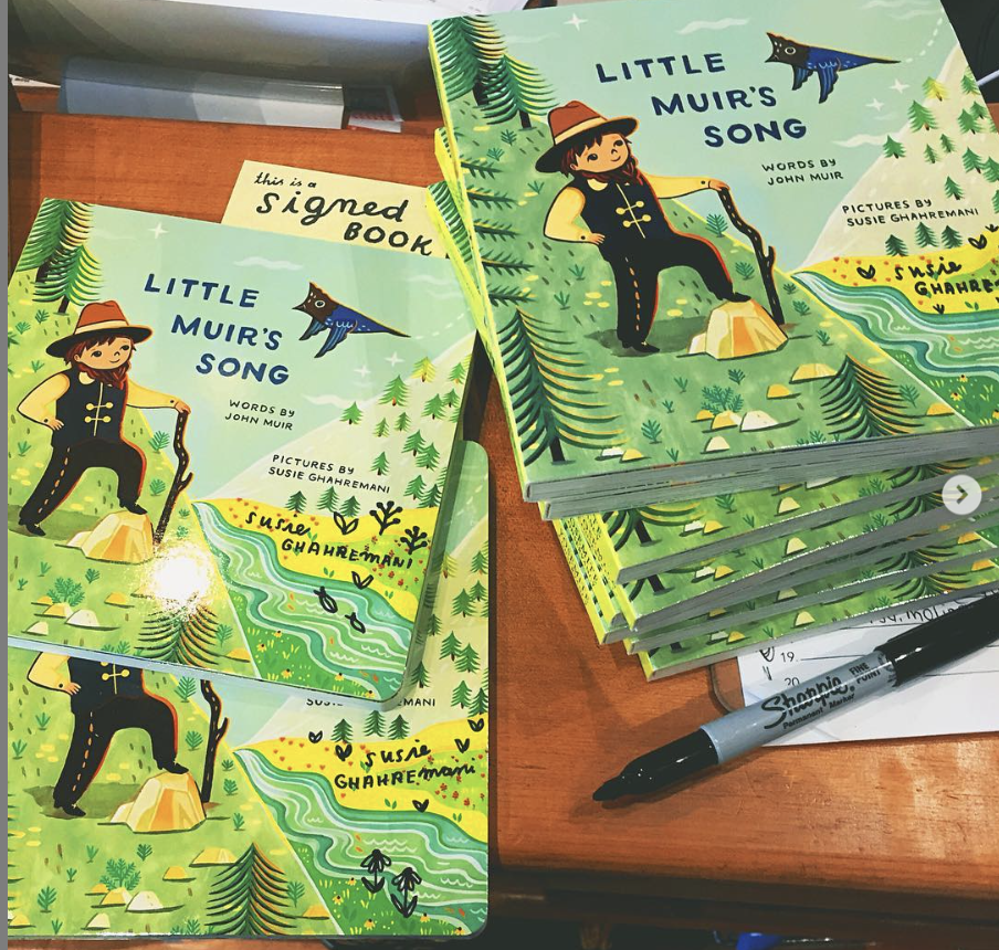 Signing copies of Little Muir's Song