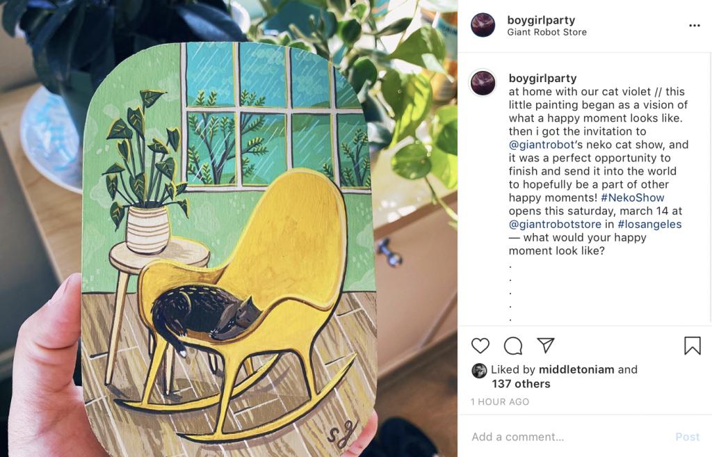 Susie Ghahremani's Neko Cat Painting for Giant Robot