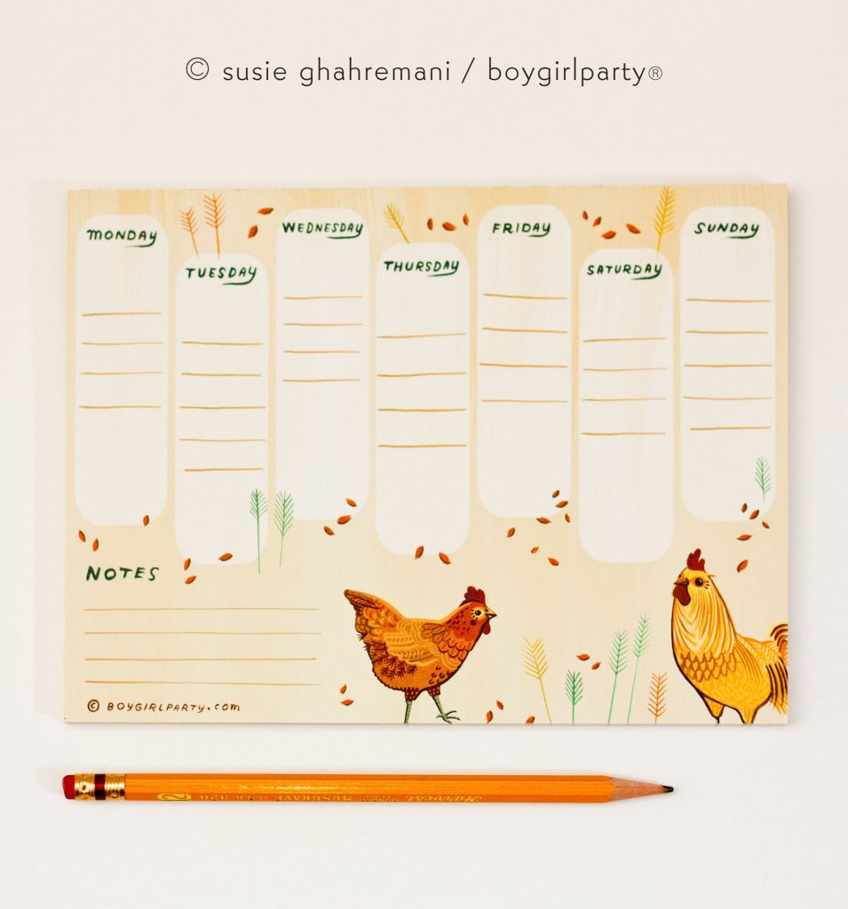 Farmhouse weekly planner notepad by boygirlparty