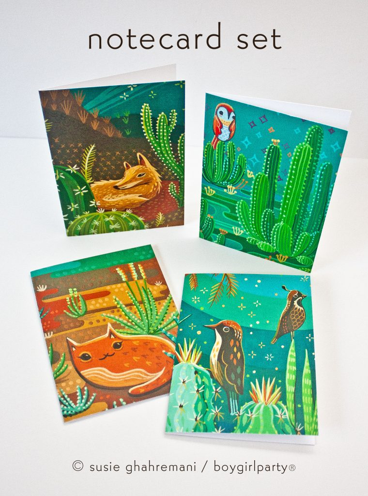Cactus Animal Cards by Susie Ghahremani / boygirlparty.com