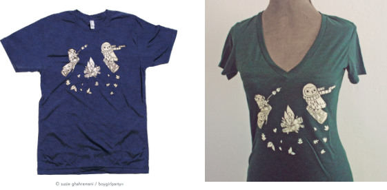Campfire Owl T-shirts for Men and Women at boygirlparty