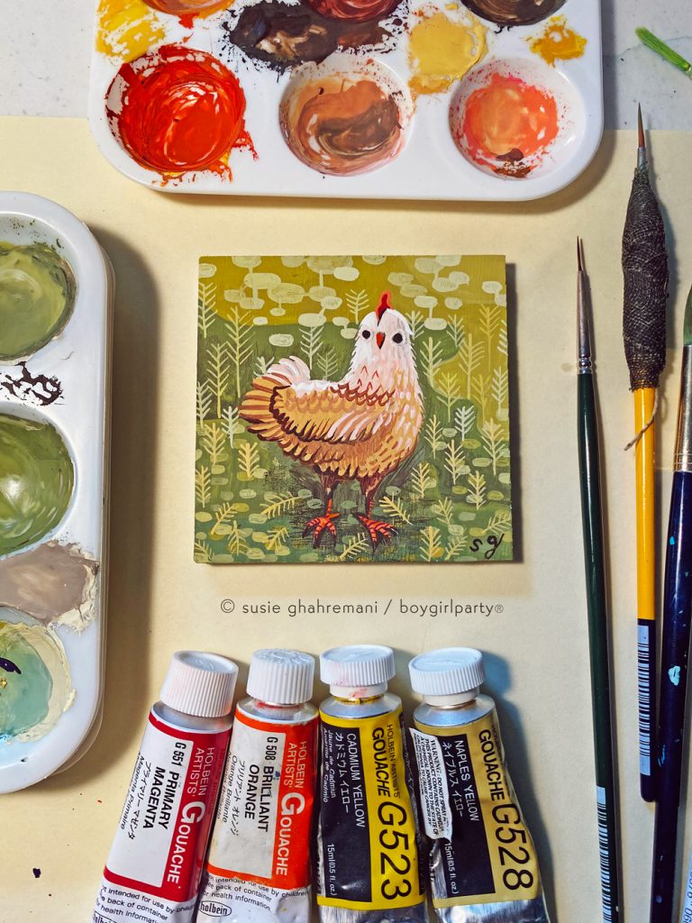 Chicken painting by Susie Ghahremani / boygirlparty.