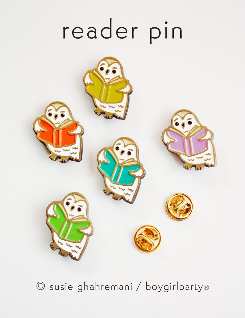 Bookish Owl Pins by boygirlparty