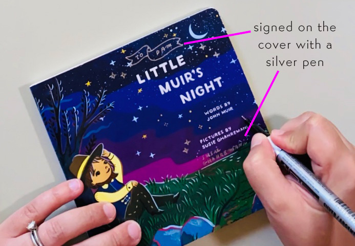 Signed copy of Little Muir's Night illustrated by Susie Ghahremani