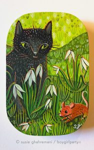 """""""In the Garden"""" painting by Susie Ghahremani at Giant Robots Neko Art Show in Los Angeles, CA"""