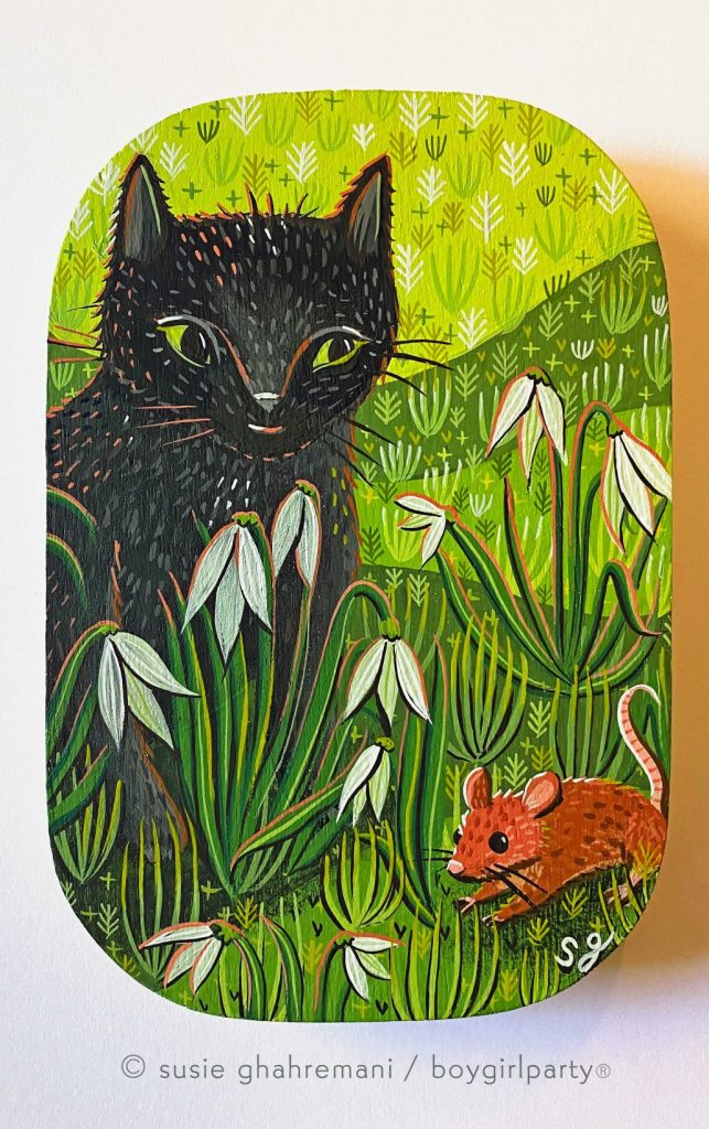 """In the Garden"" painting by Susie Ghahremani at Giant Robots Neko Art Show in Los Angeles, CA"
