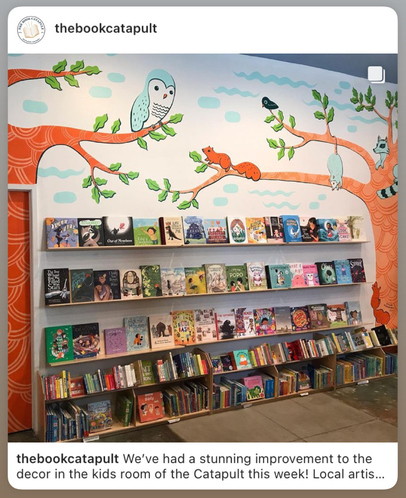Susie Ghahremani mural at the Book Catapult in South Park, indie bookstore in San Diego