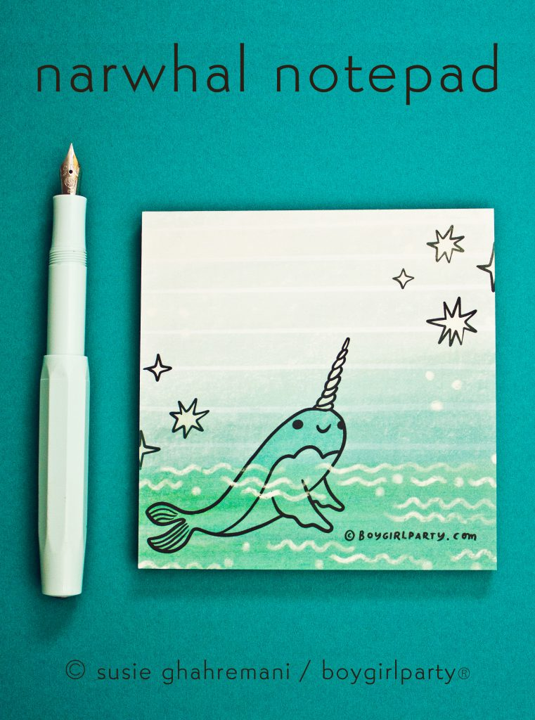 Boygirlparty Little Happy Narwhal Notepad